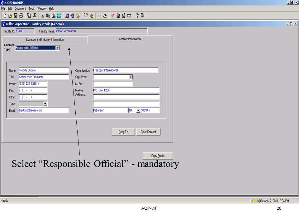 AQP-WF20 Select Responsible Official - mandatory