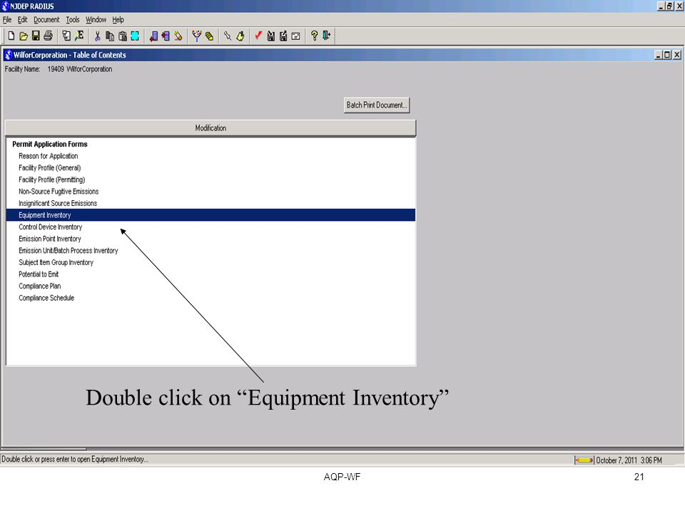 AQP-WF21 Double click on Equipment Inventory