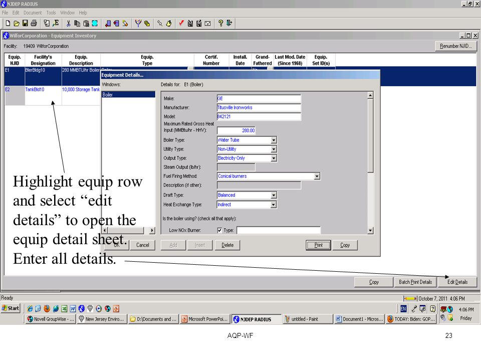 AQP-WF23 Highlight equip row and select edit details to open the equip detail sheet.