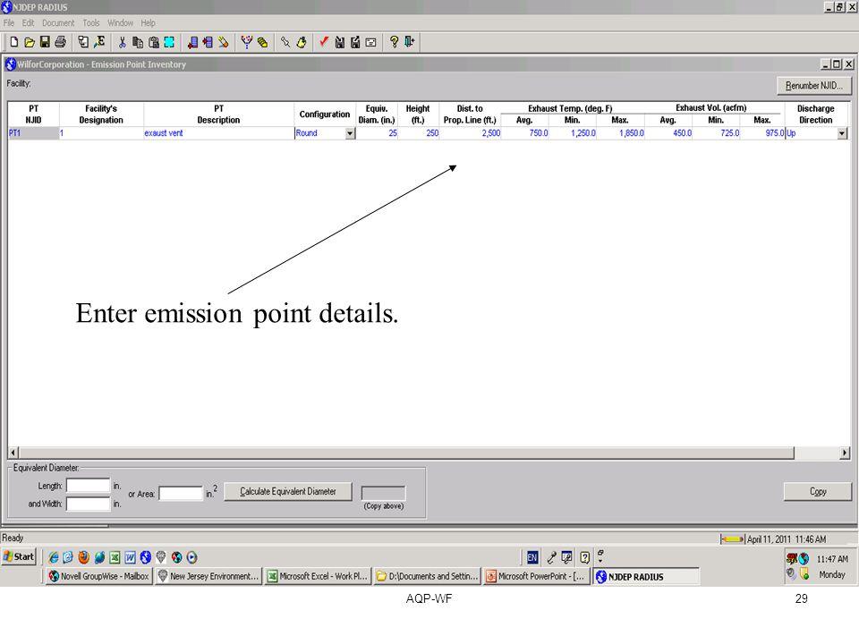 AQP-WF29 Enter emission point details.