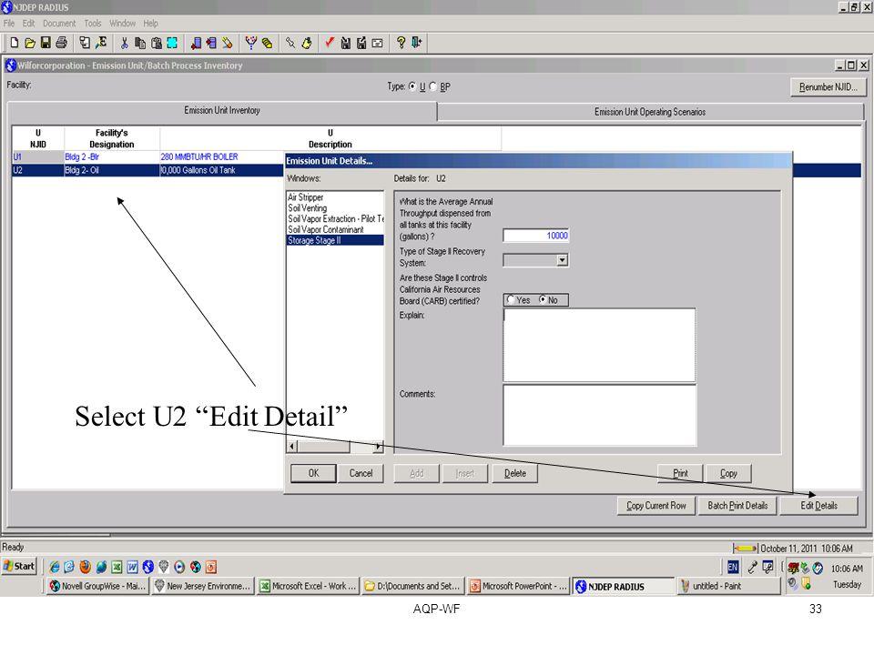 AQP-WF33 Select U2 Edit Detail