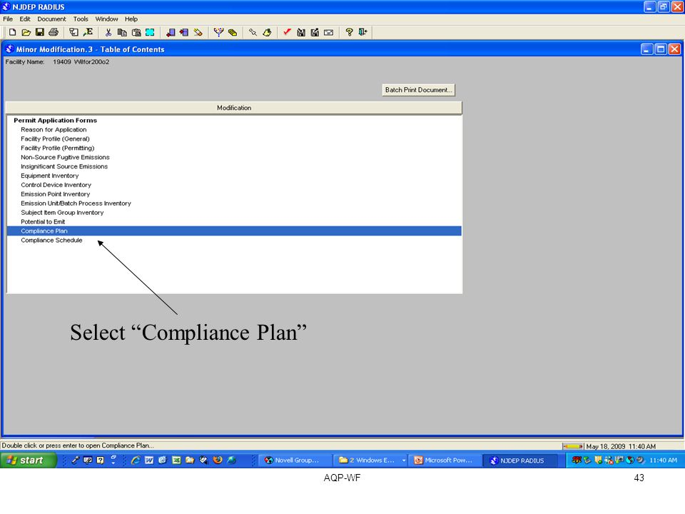 AQP-WF43 Select Compliance Plan