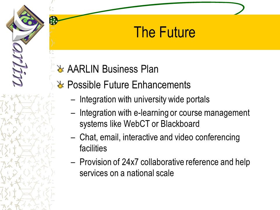 The Future AARLIN Business Plan Possible Future Enhancements –Integration with university wide portals –Integration with e-learning or course management systems like WebCT or Blackboard –Chat, email, interactive and video conferencing facilities –Provision of 24x7 collaborative reference and help services on a national scale