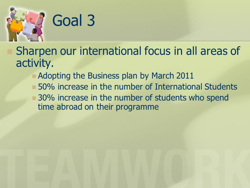 Goal 3 Sharpen our international focus in all areas of activity. Adopting the Business plan by March 2011 50% increase in the number of International