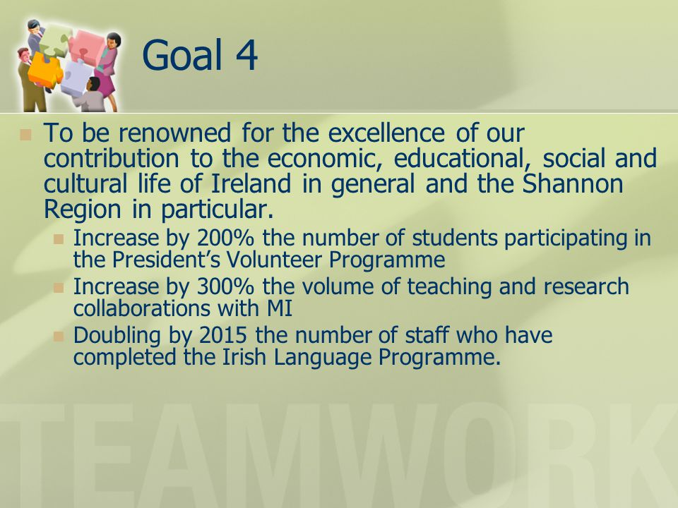 Goal 4 To be renowned for the excellence of our contribution to the economic, educational, social and cultural life of Ireland in general and the Shan