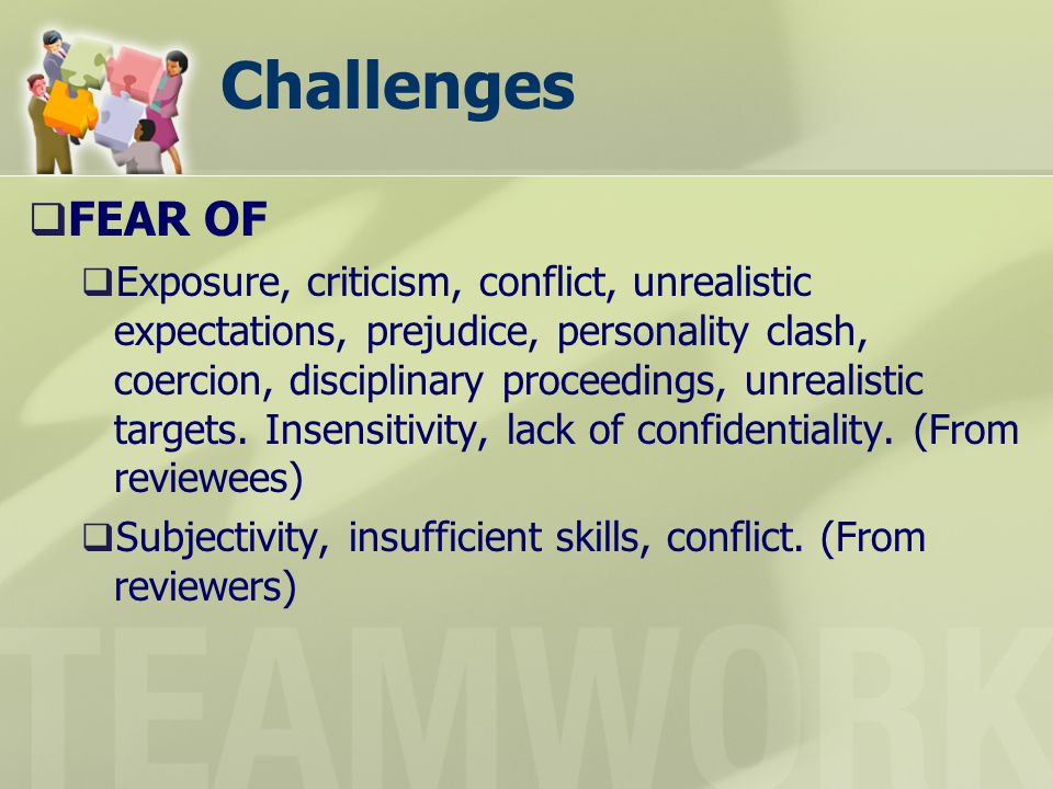 Challenges FEAR OF Exposure, criticism, conflict, unrealistic expectations, prejudice, personality clash, coercion, disciplinary proceedings, unrealistic targets.