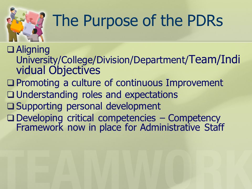 The Purpose of the PDRs Aligning University/College/Division/Department/ Team/Indi vidual Objectives Promoting a culture of continuous Improvement Und