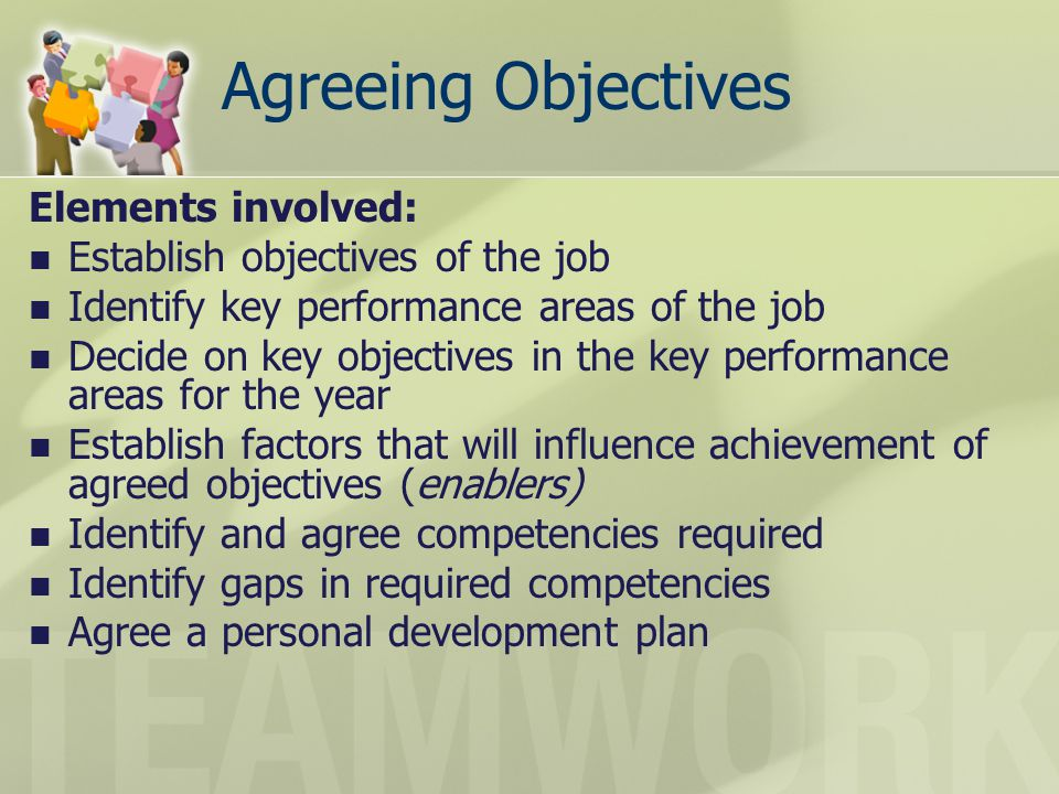Agreeing Objectives Elements involved: Establish objectives of the job Identify key performance areas of the job Decide on key objectives in the key p