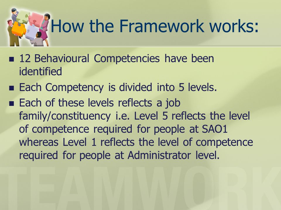 How the Framework works: 12 Behavioural Competencies have been identified Each Competency is divided into 5 levels. Each of these levels reflects a jo