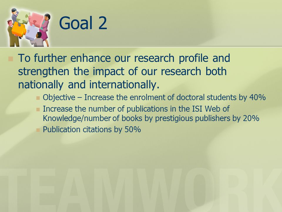 Goal 2 To further enhance our research profile and strengthen the impact of our research both nationally and internationally. Objective – Increase the