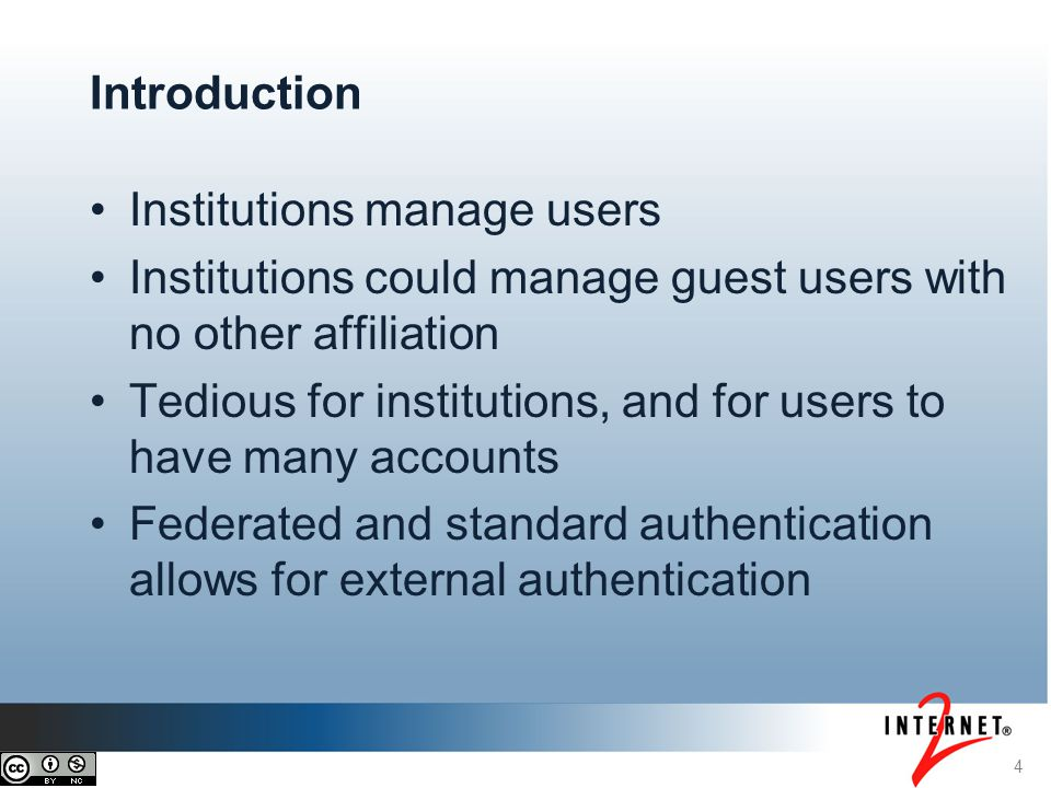 5 Introduction (continued) External user identifiers need to be stored somewhere Grouper can access them Grouper can be used for this The institutions central Grouper administrator needs to configure this for all groups or certain folders