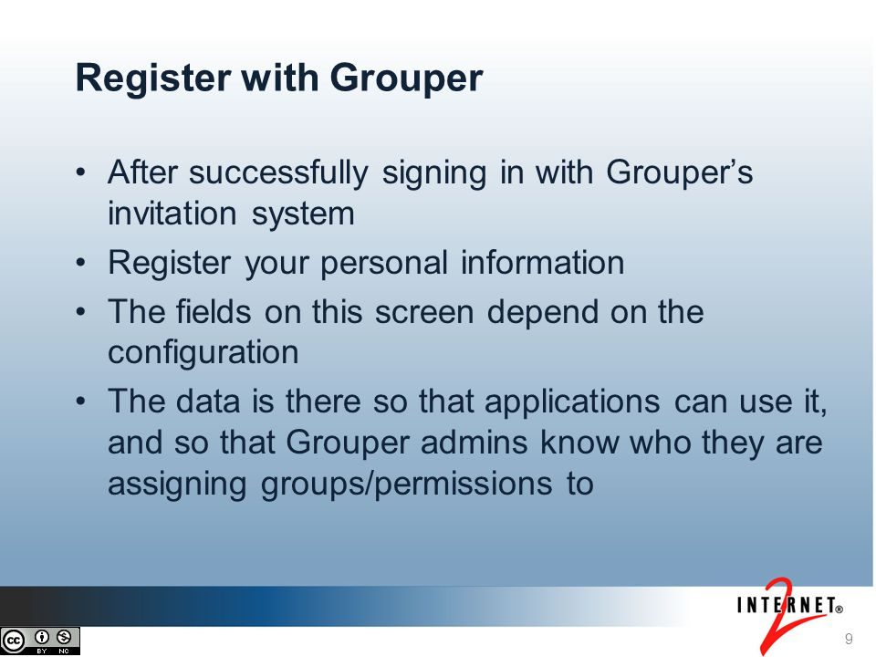9 Register with Grouper After successfully signing in with Groupers invitation system Register your personal information The fields on this screen dep