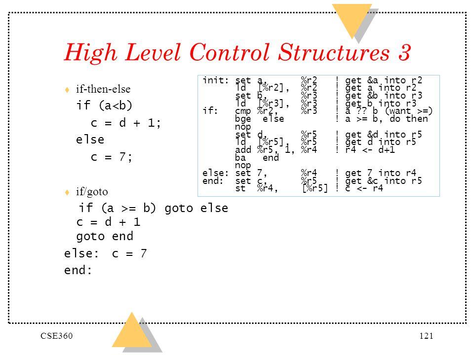 CSE360121 High Level Control Structures 3 t if-then-else if (a<b) c = d + 1; else c = 7; t if/goto if (a >= b) goto else c = d + 1 goto end else: c = 7 end: init: set a, %r2 .