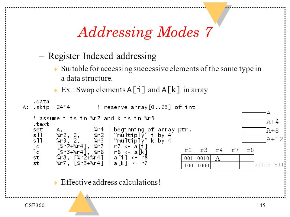 CSE360145 Addressing Modes 7 –Register Indexed addressing t Suitable for accessing successive elements of the same type in a data structure. Ex.: Swap