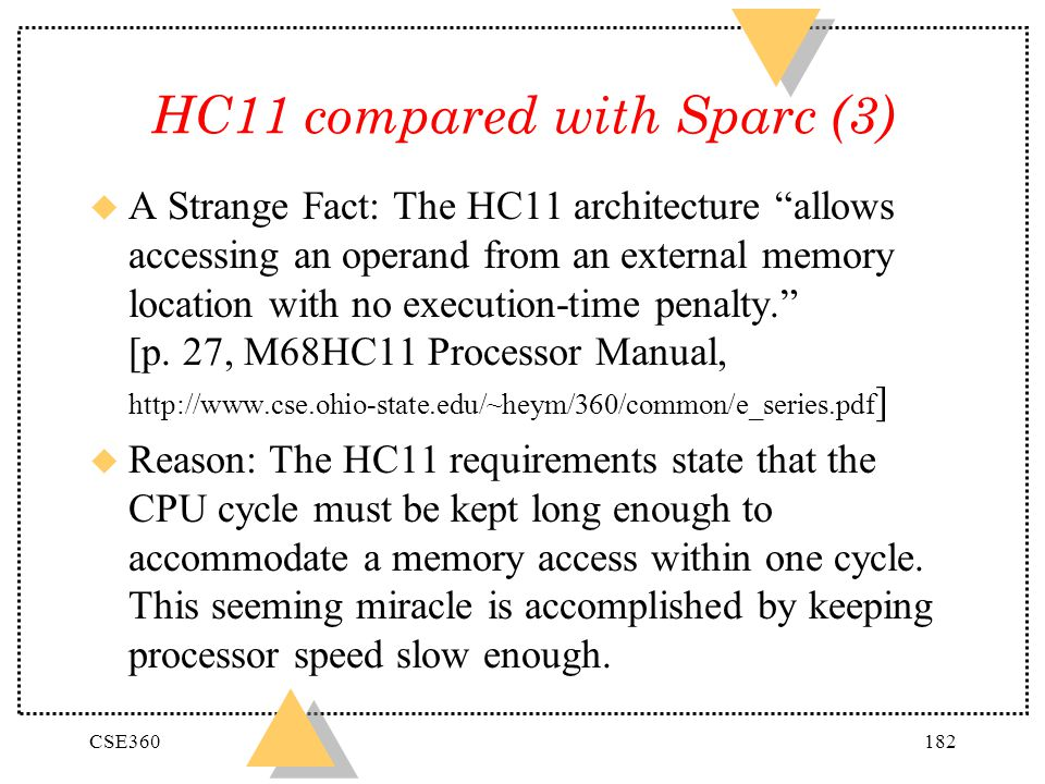 CSE360182 HC11 compared with Sparc (3) u A Strange Fact: The HC11 architecture allows accessing an operand from an external memory location with no ex
