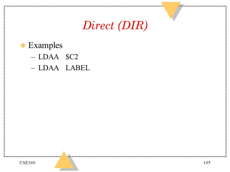 CSE360195 Direct (DIR) u Examples –LDAA$C2 –LDAALABEL