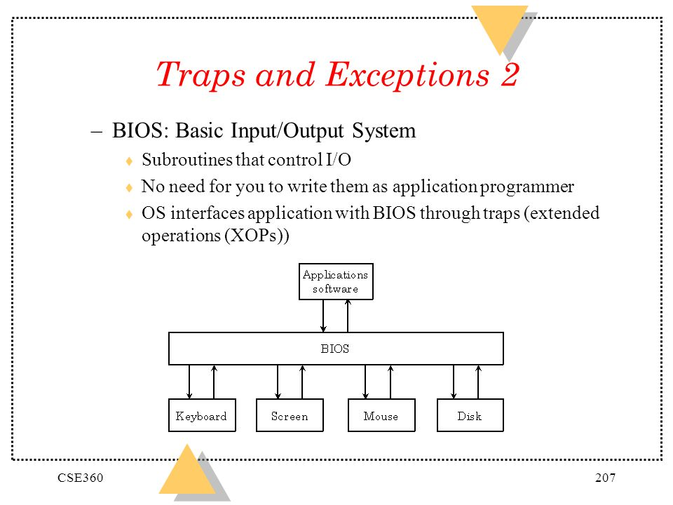 CSE360207 Traps and Exceptions 2 –BIOS: Basic Input/Output System t Subroutines that control I/O t No need for you to write them as application progra