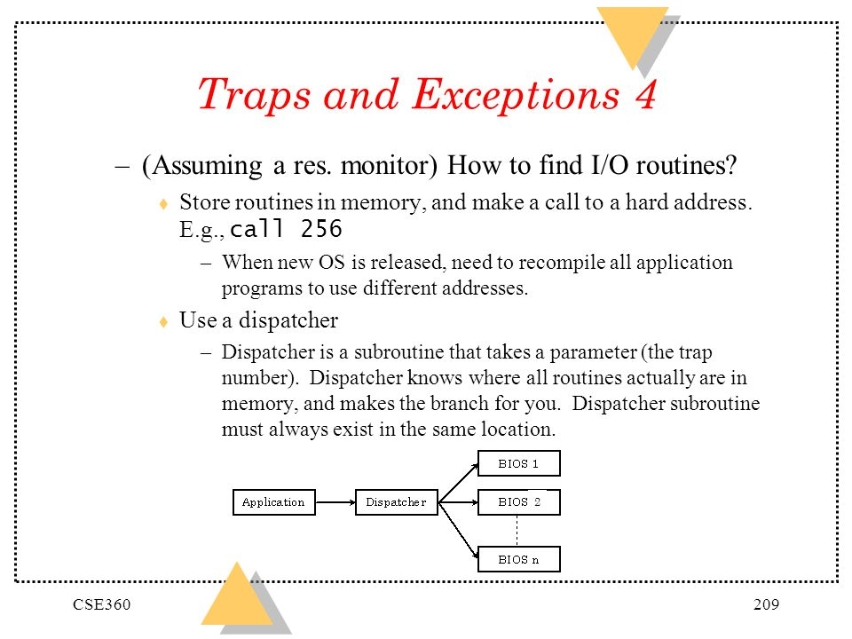 CSE360209 Traps and Exceptions 4 –(Assuming a res. monitor) How to find I/O routines? Store routines in memory, and make a call to a hard address. E.g