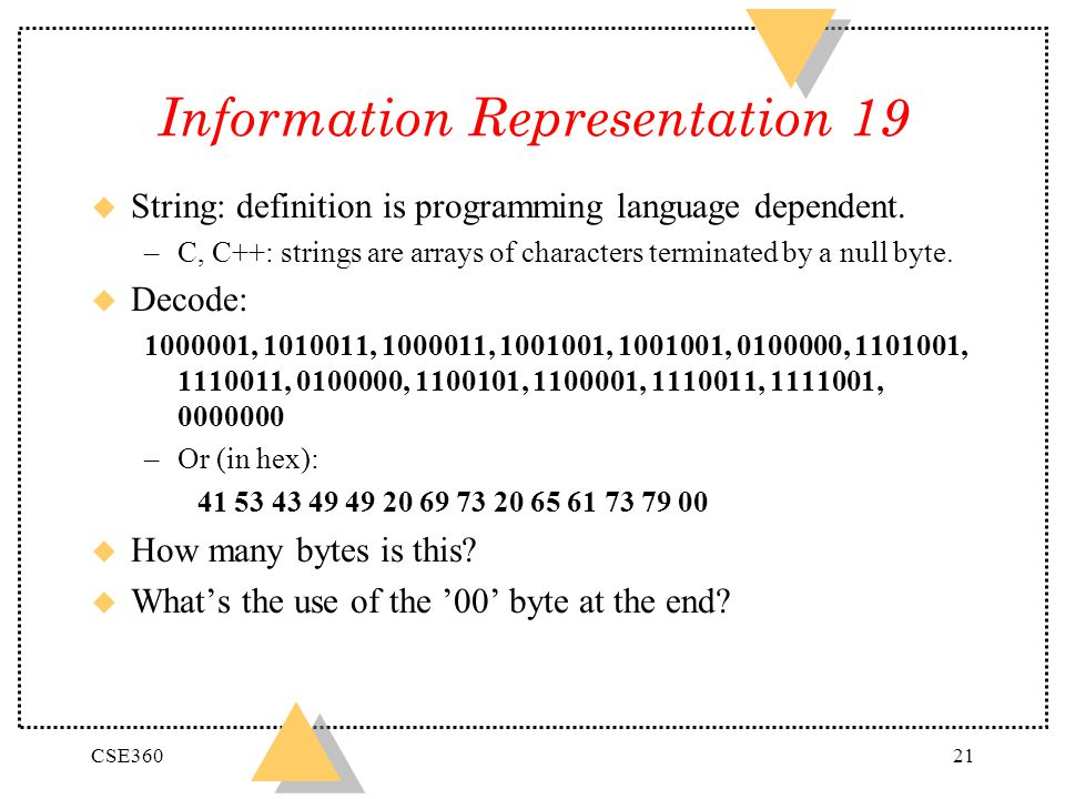 CSE36021 Information Representation 19 u String: definition is programming language dependent. –C, C++: strings are arrays of characters terminated by