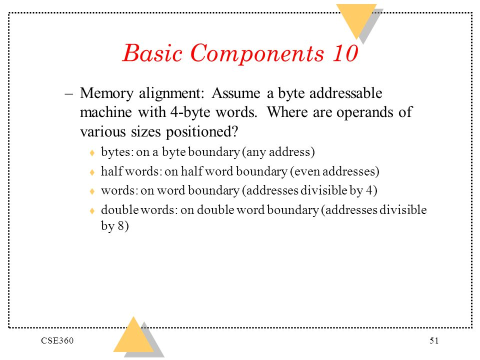 CSE36051 Basic Components 10 –Memory alignment: Assume a byte addressable machine with 4-byte words. Where are operands of various sizes positioned? t