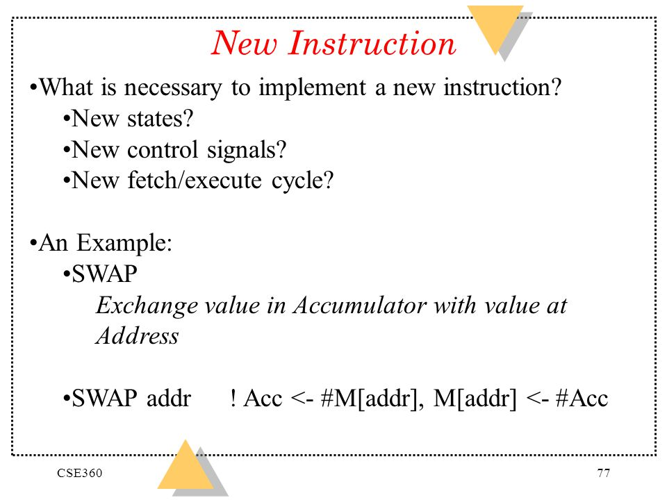 CSE36077 New Instruction What is necessary to implement a new instruction? New states? New control signals? New fetch/execute cycle? An Example: SWAP
