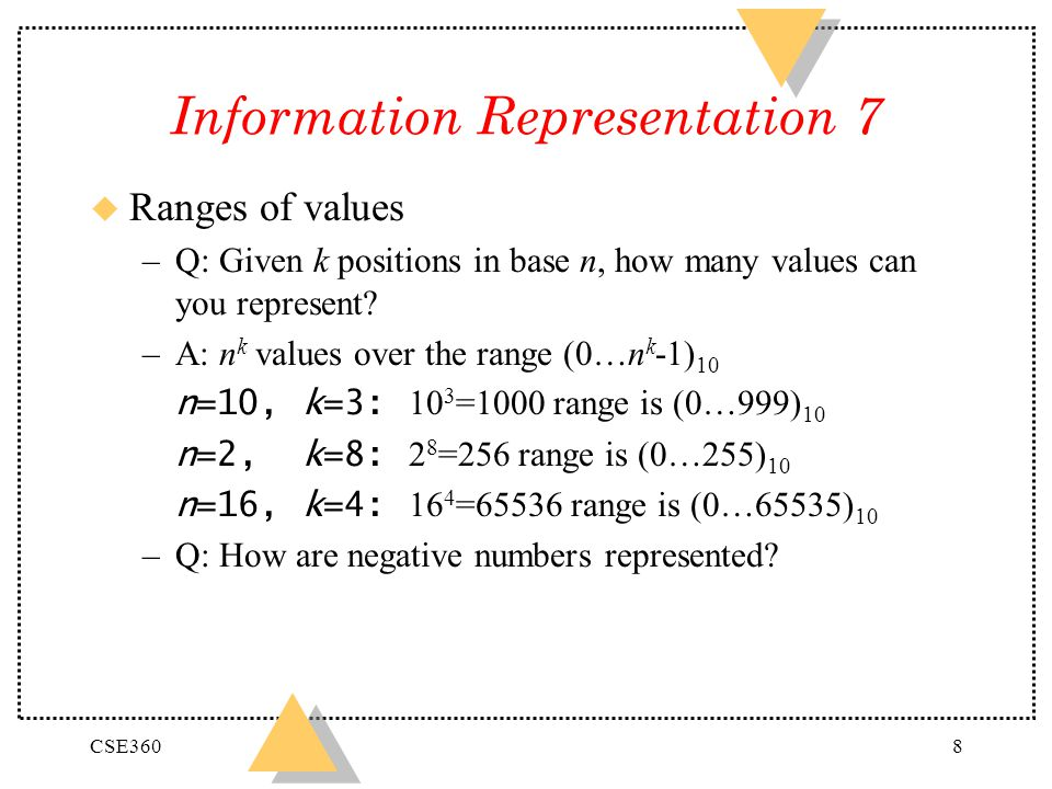CSE3608 Information Representation 7 u Ranges of values –Q: Given k positions in base n, how many values can you represent? –A: n k values over the ra
