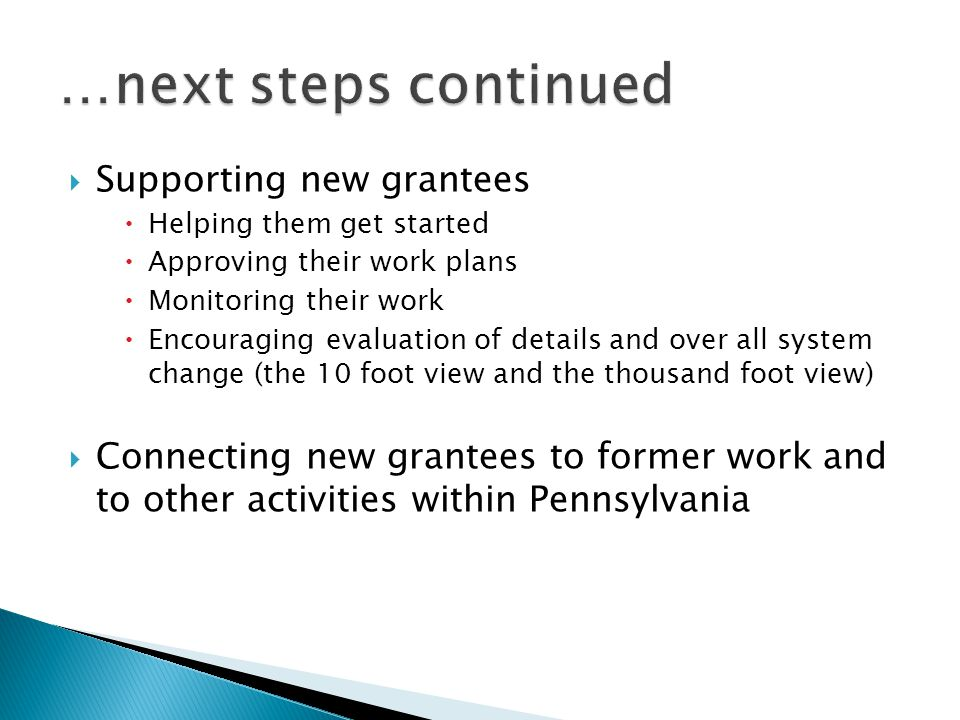 Supporting new grantees Helping them get started Approving their work plans Monitoring their work Encouraging evaluation of details and over all system change (the 10 foot view and the thousand foot view) Connecting new grantees to former work and to other activities within Pennsylvania