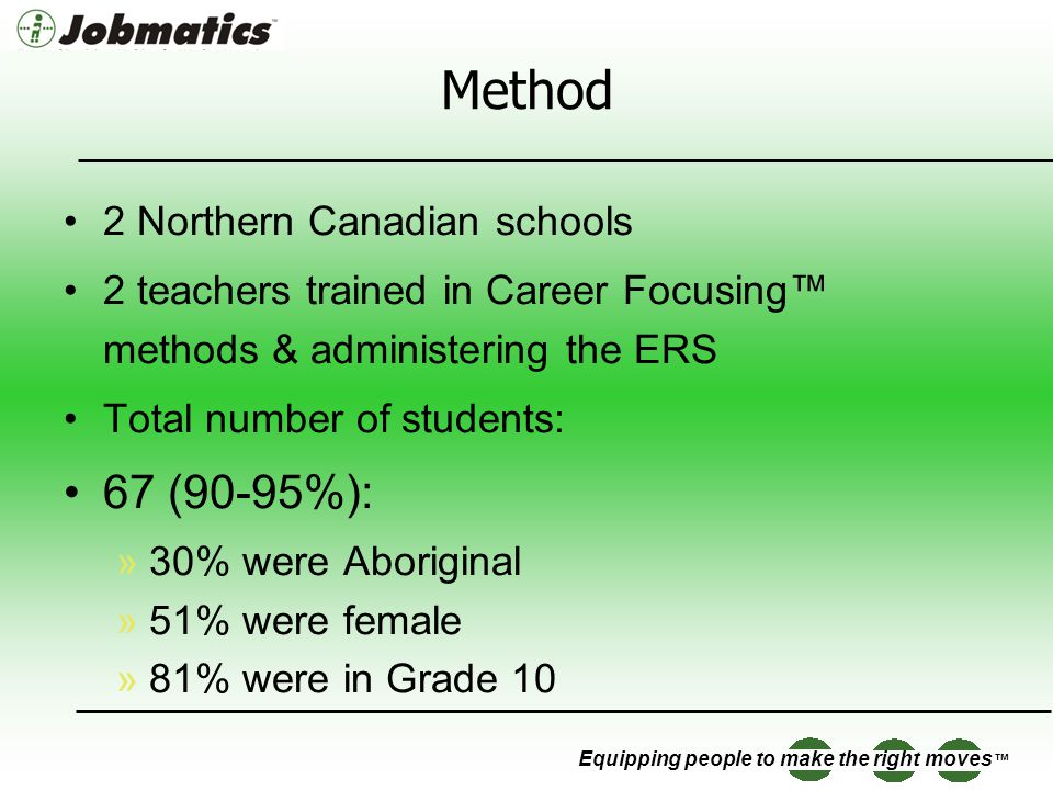 Equipping people to make the right moves Method 2 Northern Canadian schools 2 teachers trained in Career Focusing methods & administering the ERS Total number of students: 67 (90-95%): »30% were Aboriginal »51% were female »81% were in Grade 10
