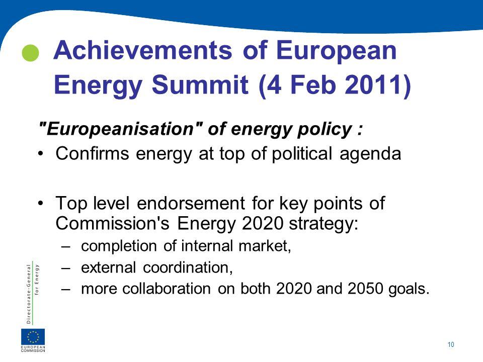 10 Achievements of European Energy Summit (4 Feb 2011)