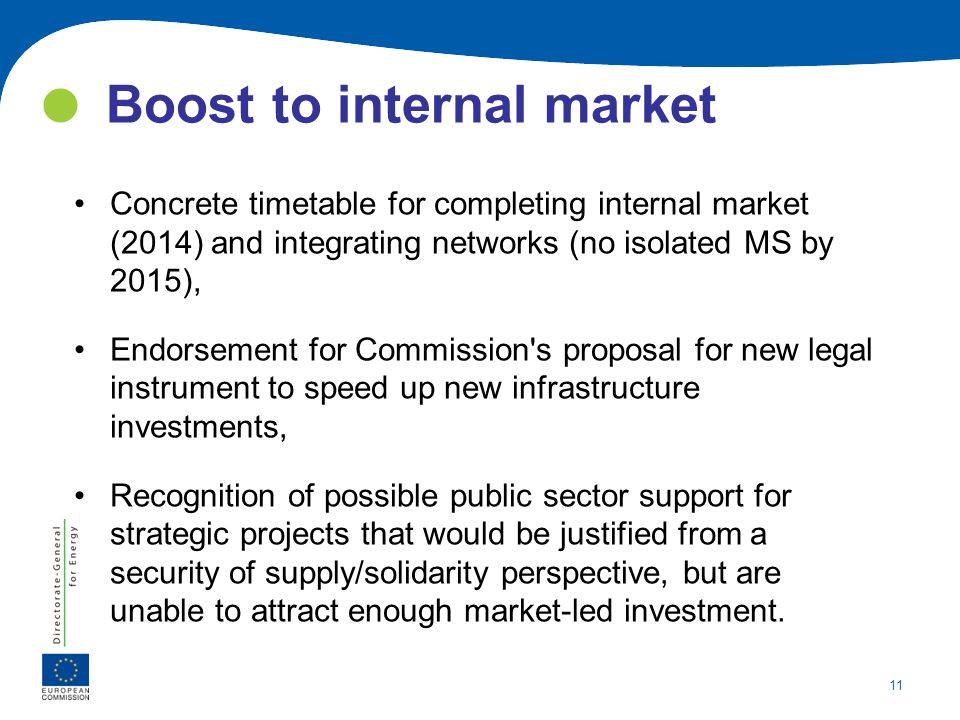 11 Boost to internal market Concrete timetable for completing internal market (2014) and integrating networks (no isolated MS by 2015), Endorsement fo