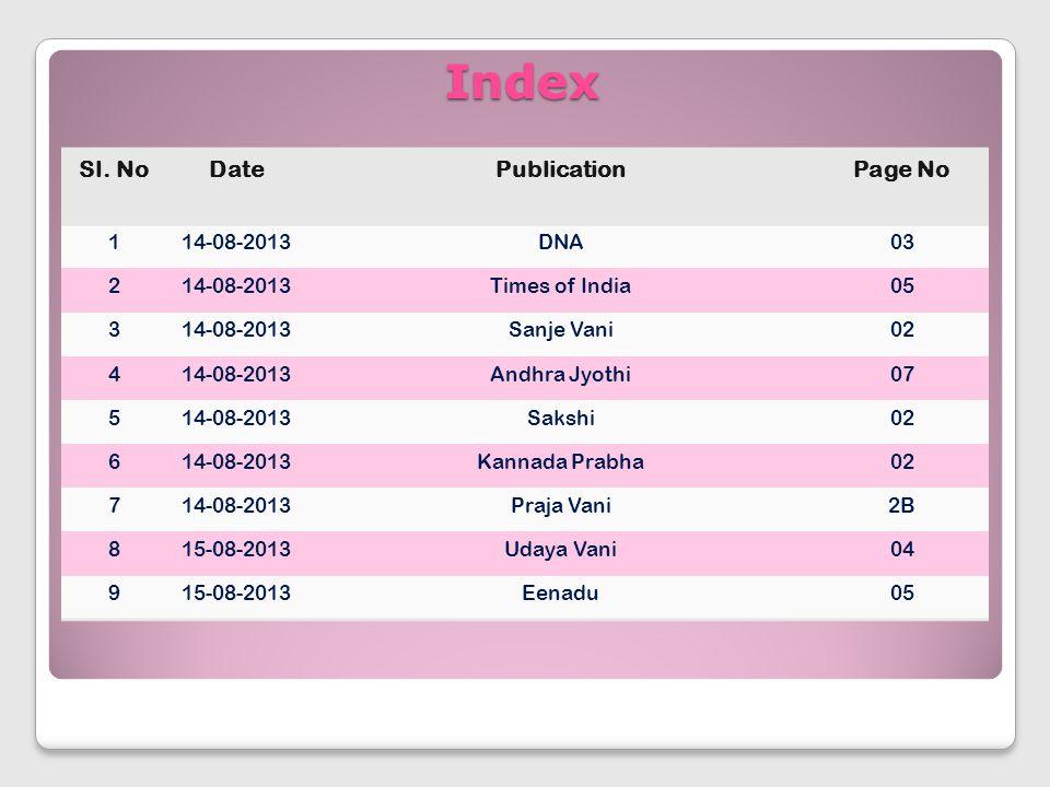 Index Sl. NoDatePublicationPage No 114-08-2013DNA03 214-08-2013Times of India05 314-08-2013Sanje Vani02 414-08-2013Andhra Jyothi07 514-08-2013Sakshi02