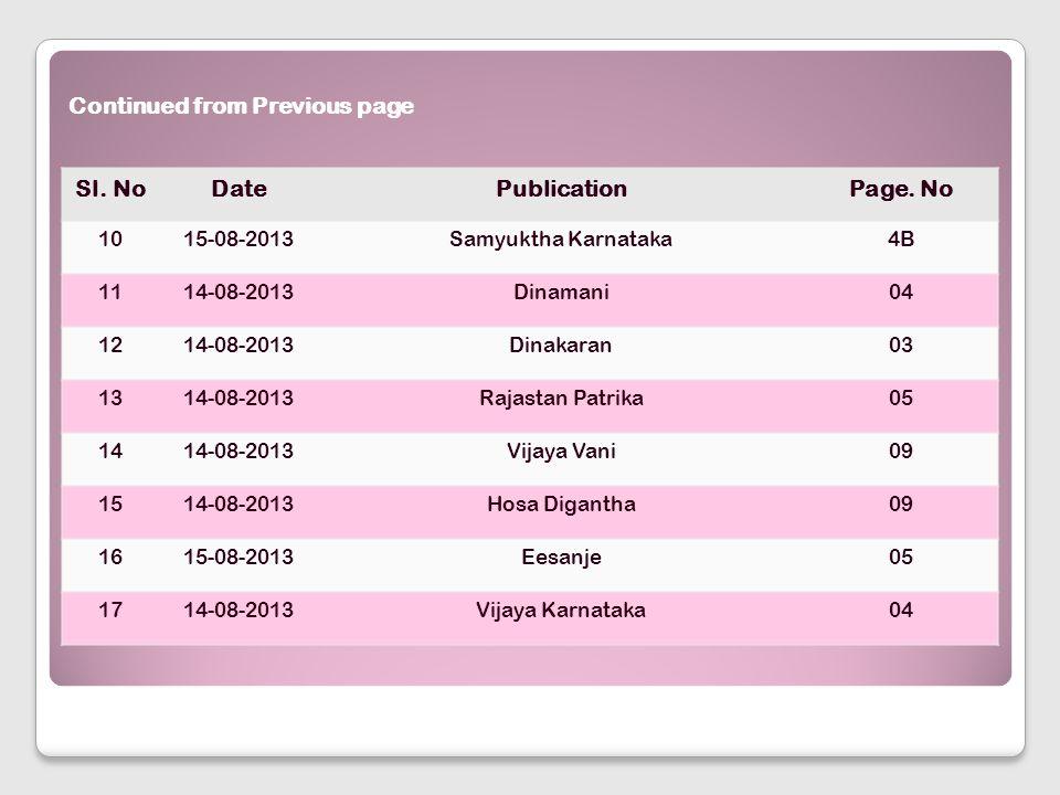 Continued from Previous page Sl. NoDatePublicationPage. No 1015-08-2013Samyuktha Karnataka4B 1114-08-2013Dinamani04 1214-08-2013Dinakaran03 1314-08-20