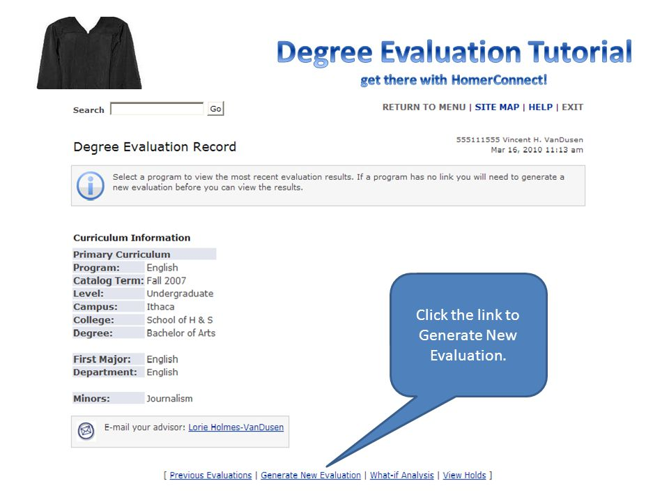 Click the link to Generate New Evaluation.
