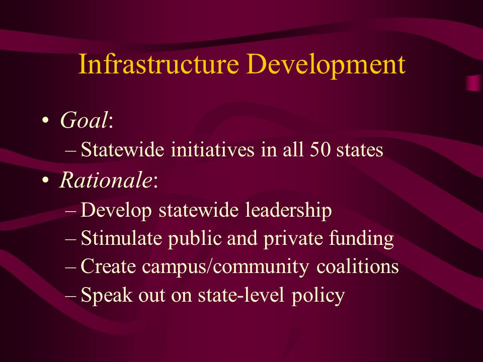 Infrastructure Development Goal: –Statewide initiatives in all 50 states Rationale: –Develop statewide leadership –Stimulate public and private funding –Create campus/community coalitions –Speak out on state-level policy