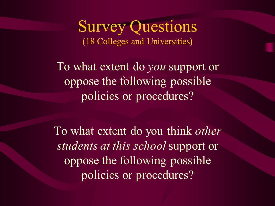 Survey Questions (18 Colleges and Universities) To what extent do you support or oppose the following possible policies or procedures.