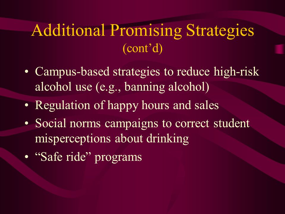 Additional Promising Strategies (contd) Campus-based strategies to reduce high-risk alcohol use (e.g., banning alcohol) Regulation of happy hours and sales Social norms campaigns to correct student misperceptions about drinking Safe ride programs