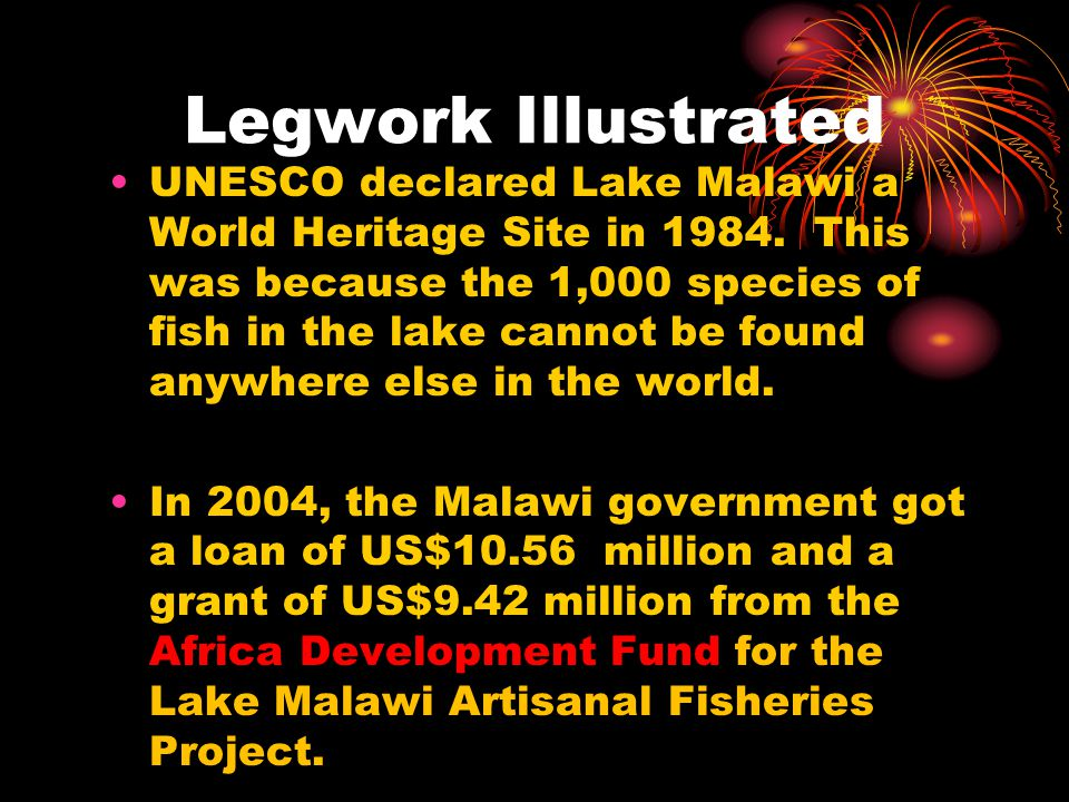 Legwork Illustrated UNESCO declared Lake Malawi a World Heritage Site in 1984. This was because the 1,000 species of fish in the lake cannot be found