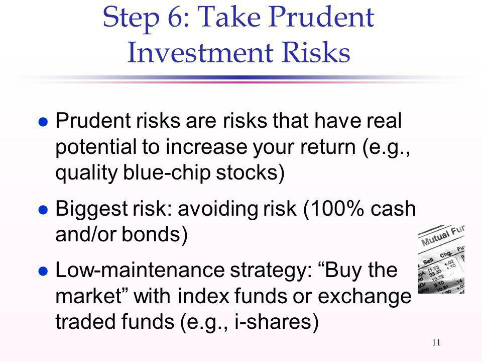 10 Reasons to Stay Invested l Very difficult to be right twice (getting out of stocks and getting back in) l You have to be in the market when bursts (big price increases) occur l Market declines provide buying opportunity l Historically, stock market bounces back reasonably quickly