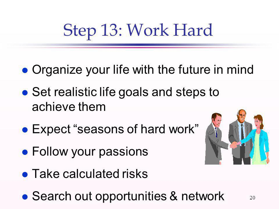 19 Step 12: Develop a Spending Plan l Track income and expenses for 1 or more months l List fixed, variable, & periodic expenses l Calculate savings required to fund goals l Create a spending plan Expenses + Savings = Income