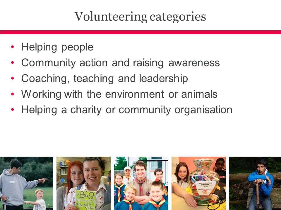 Volunteering categories Helping people Community action and raising awareness Coaching, teaching and leadership Working with the environment or animals Helping a charity or community organisation