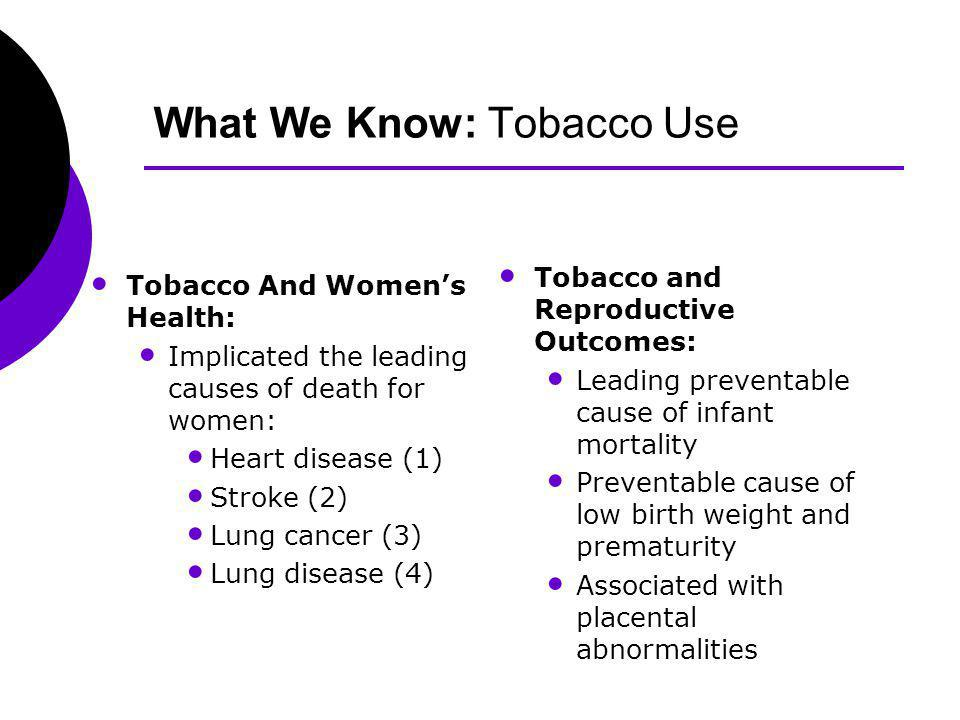 What We Know: Tobacco Use Tobacco And Womens Health: Implicated the leading causes of death for women: Heart disease (1) Stroke (2) Lung cancer (3) Lung disease (4) Tobacco and Reproductive Outcomes: Leading preventable cause of infant mortality Preventable cause of low birth weight and prematurity Associated with placental abnormalities