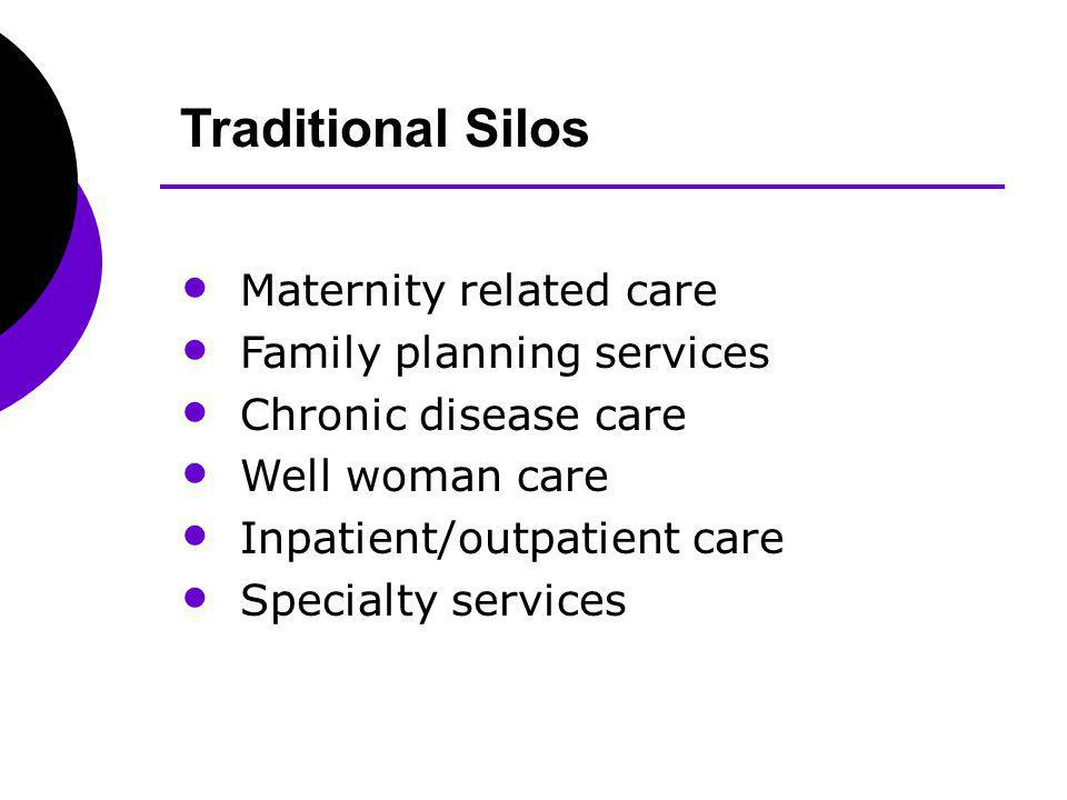 Traditional Silos Maternity related care Family planning services Chronic disease care Well woman care Inpatient/outpatient care Specialty services