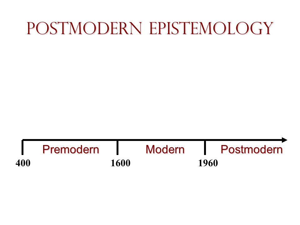 Postmodern Epistemology PremodernModernPostmodern 40016001960