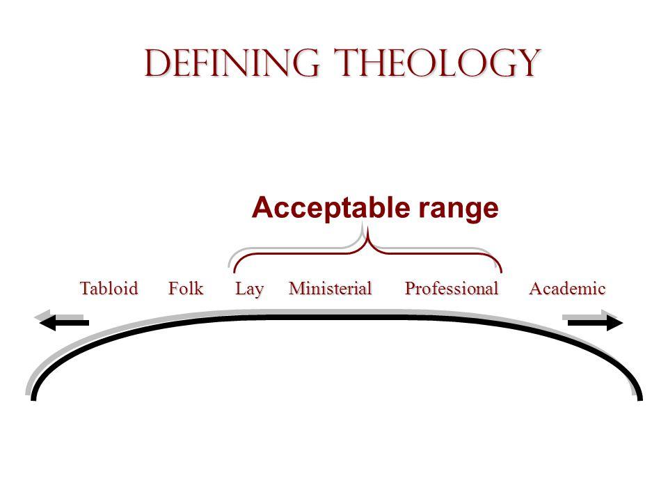 Defining Theology Acceptable range TabloidLayMinisterialProfessionalAcademicFolk