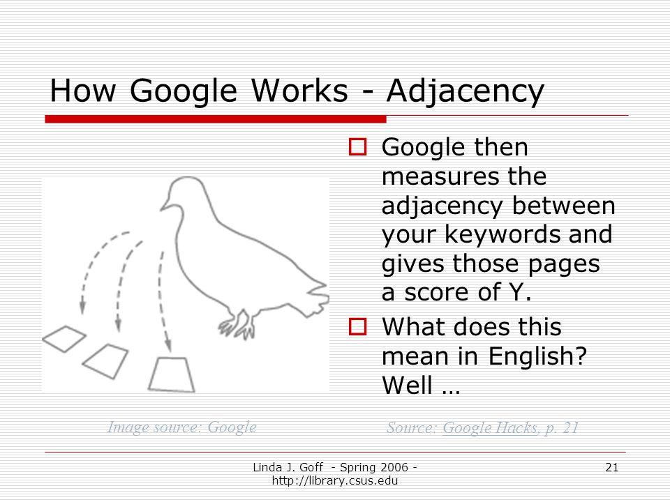 Linda J. Goff - Spring 2006 - http://library.csus.edu 21 How Google Works - Adjacency Google then measures the adjacency between your keywords and giv
