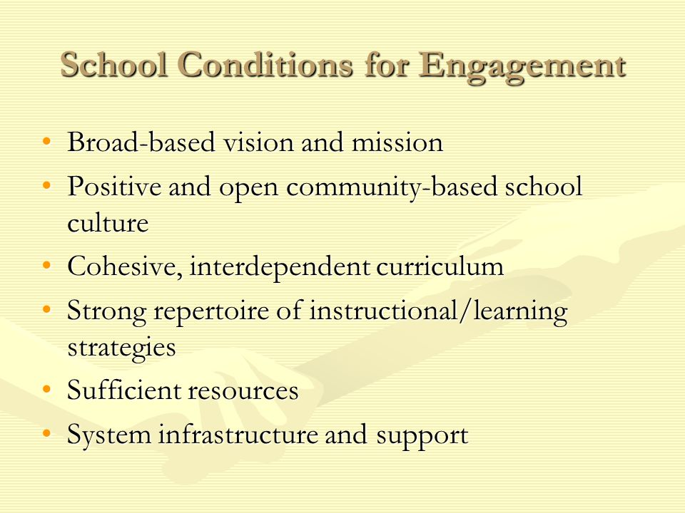 School Conditions for Engagement Broad-based vision and missionBroad-based vision and mission Positive and open community-based school culturePositive and open community-based school culture Cohesive, interdependent curriculumCohesive, interdependent curriculum Strong repertoire of instructional/learning strategiesStrong repertoire of instructional/learning strategies Sufficient resourcesSufficient resources System infrastructure and supportSystem infrastructure and support