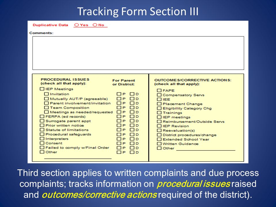 Tracking Form Section III Third section applies to written complaints and due process complaints; tracks information on procedural issues raised and o