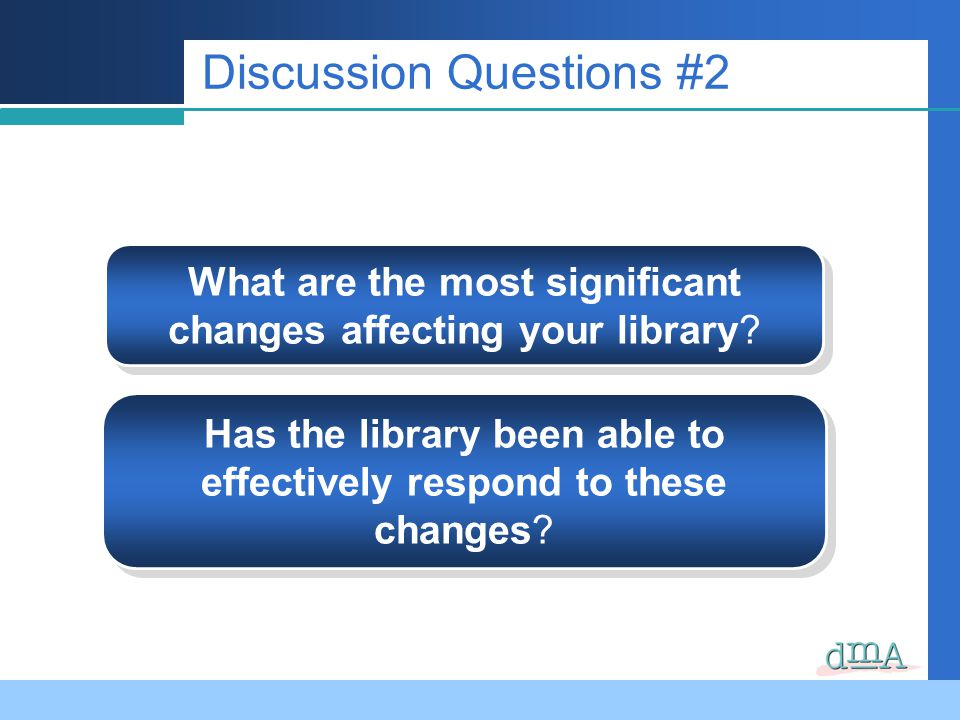 Discussion Questions #2 What are the most significant changes affecting your library.