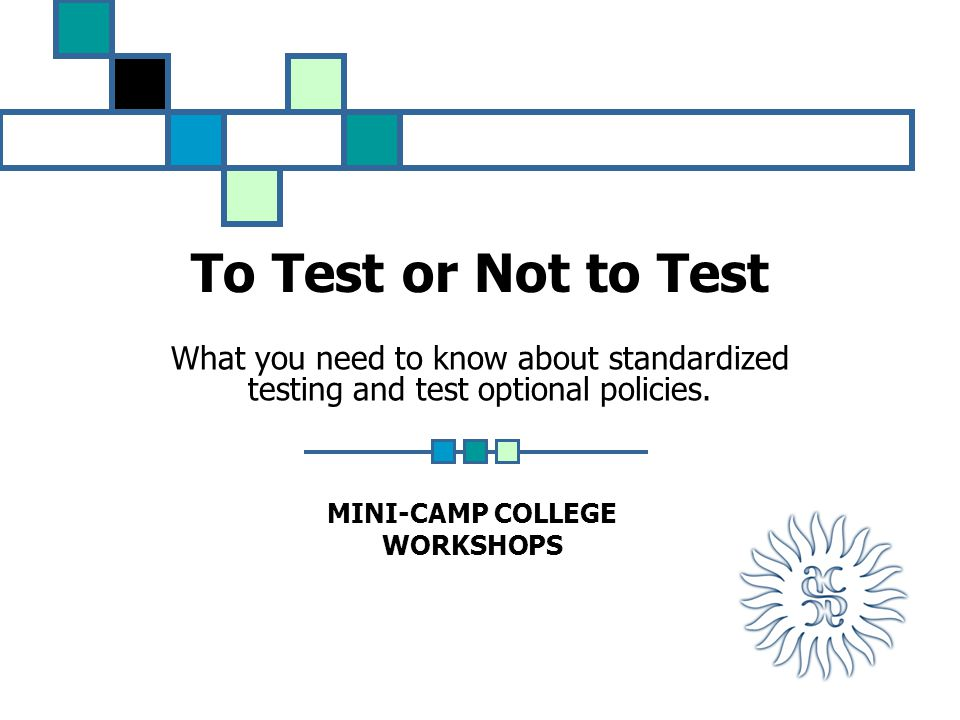 To Test or Not to Test What you need to know about standardized testing and test optional policies.