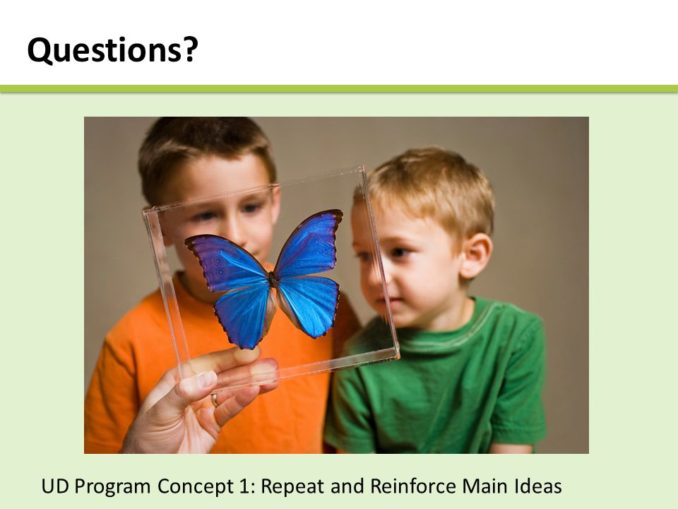 Questions UD Program Concept 1: Repeat and Reinforce Main Ideas